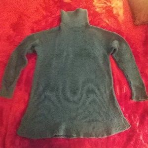 Lands End turtleneck tunic sweater teal size large